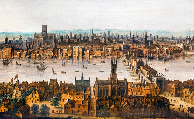 London from Southwark, c.1630. Old London Bridge is in the right foreground and old St Paul's Cathedral on the skyline to the left. This is one of the few remaining pictures showing the city before the Great Fire. Oil on panel, Dutch School not signed or