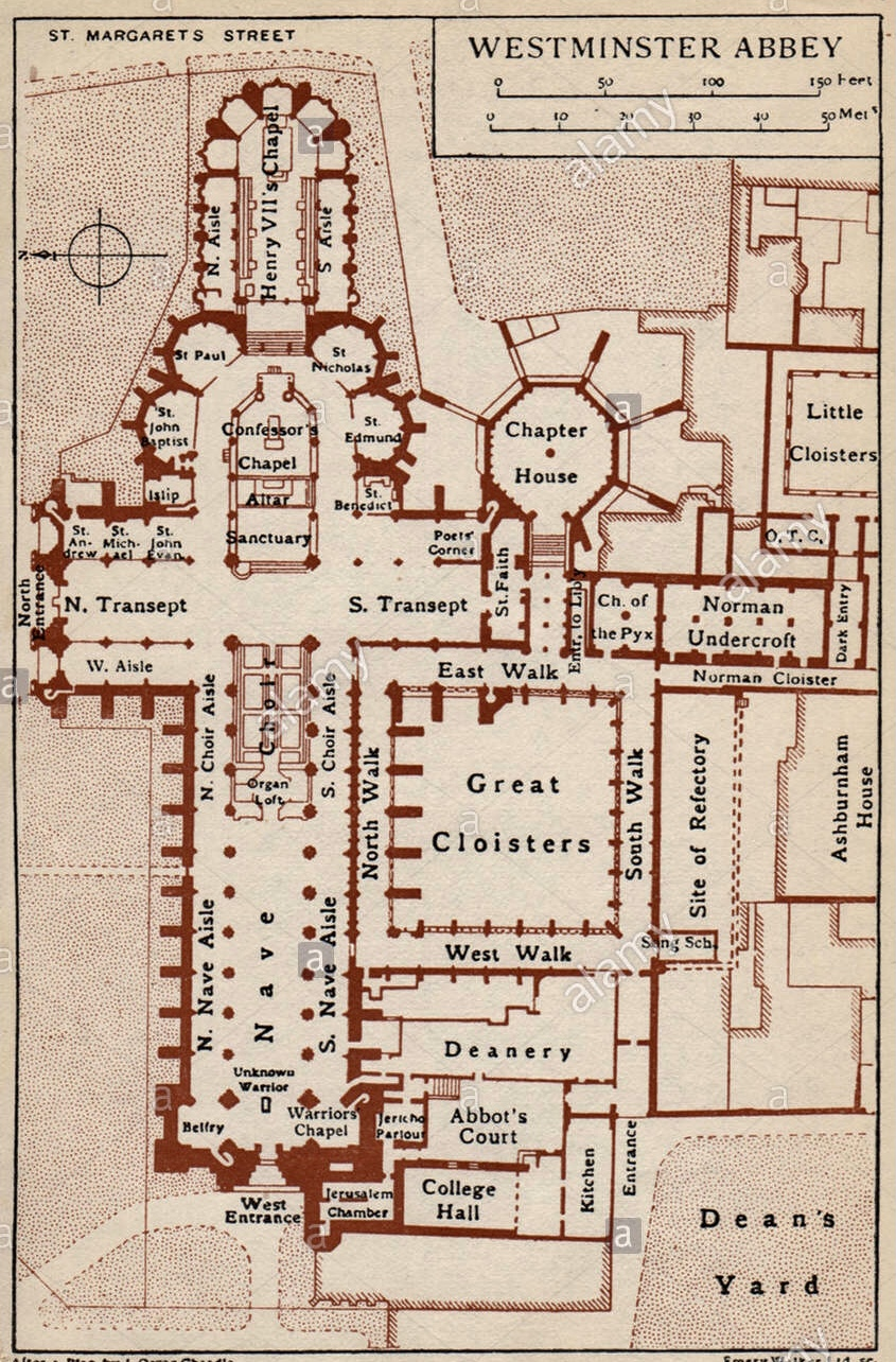 westminster-abbey-vintage-map-plan-london-1935-ghxnca-1
