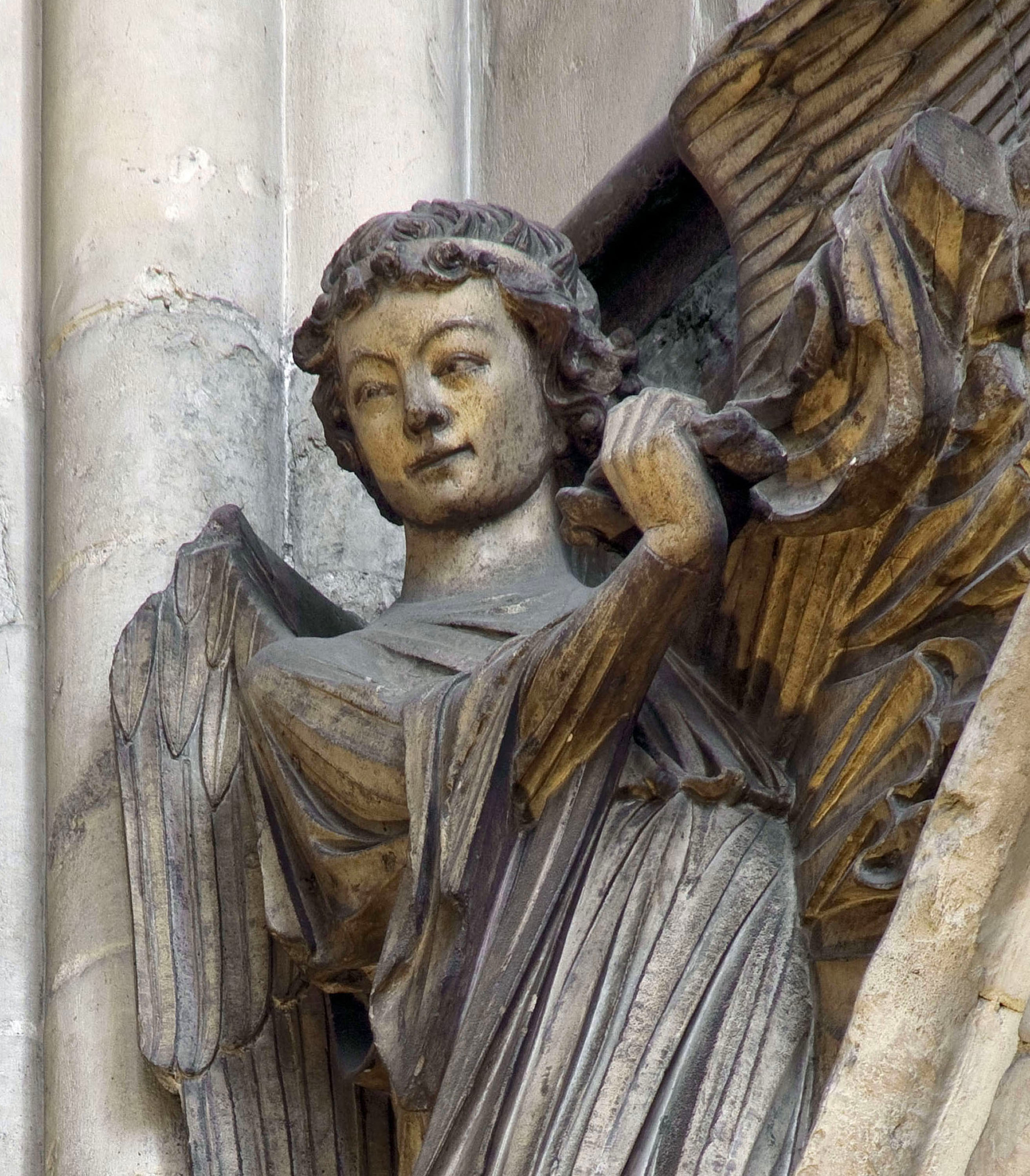 Westminster Abbey censing angel, south transept east angel, deta