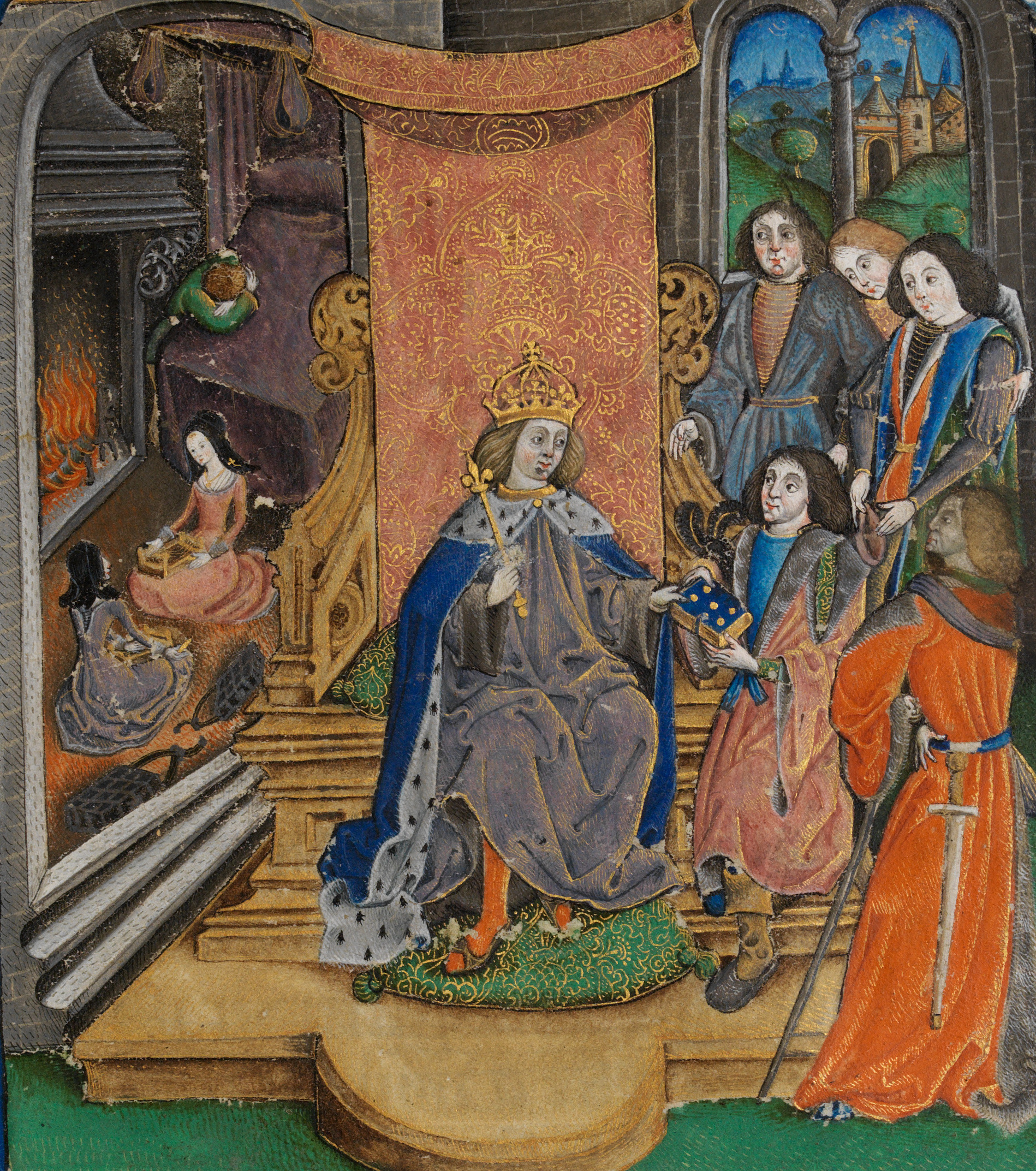 Presenting-the-Vaux-Pasional-manuscript-to-henry-VII-his-son-Henry-VIII-weeps-in-the-bachground-f.9